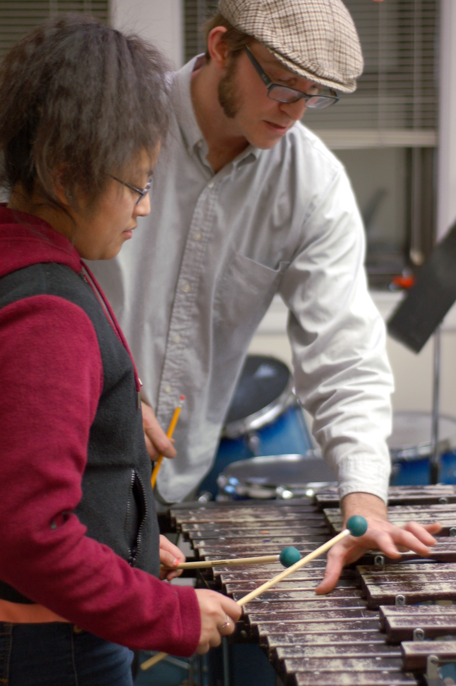 Instructor Matt Vooris leads a classical percussion workshop in Feb. 2015.