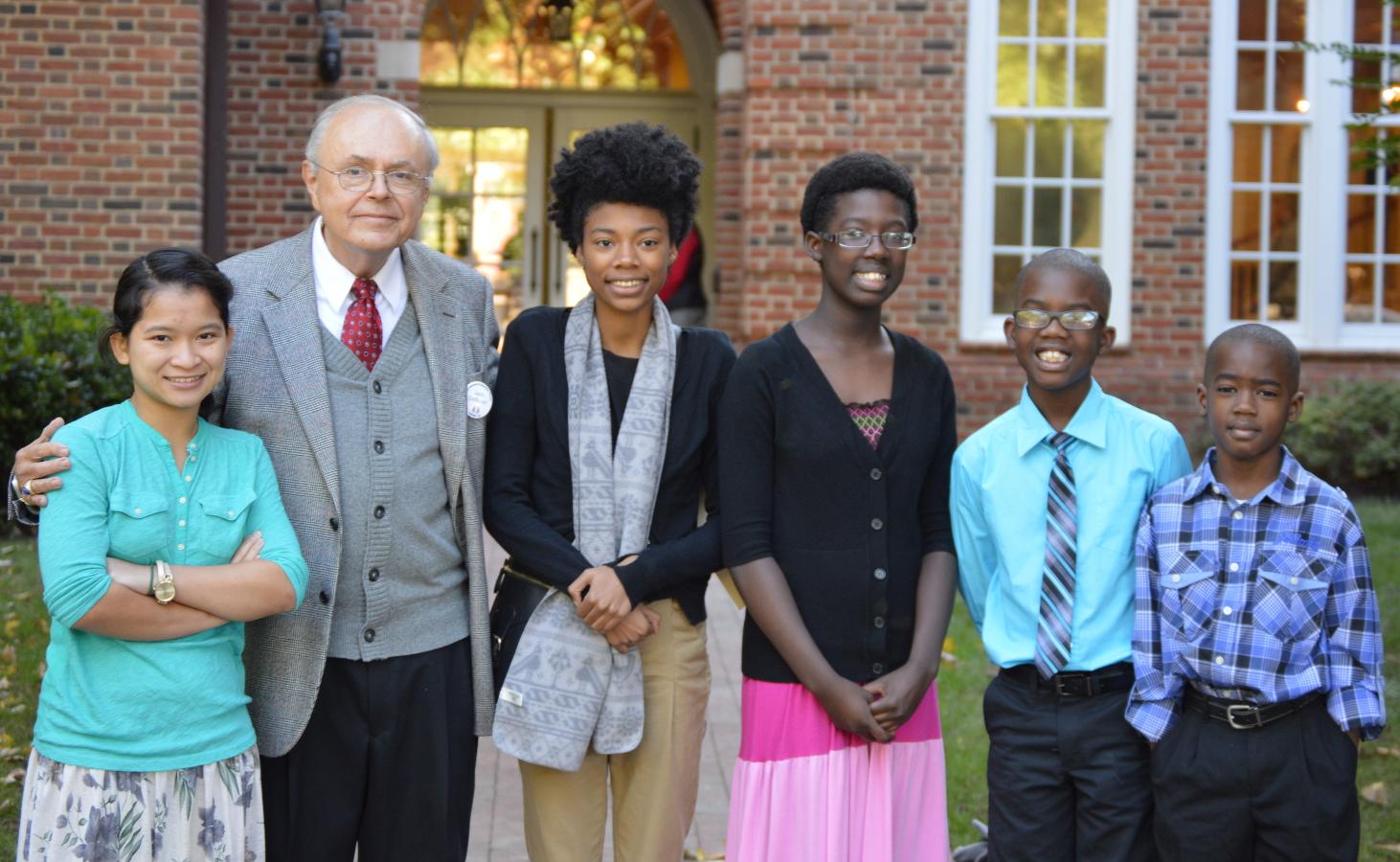 Volunteer Jack DeBruyn with CMS students